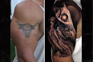 The Rock Covers Bull Tattoo