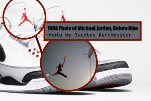 Nike Air Jordan Logo (trademark logo photo) vs Jacobus Rentmeester 1984 Photo of Michael Jordan