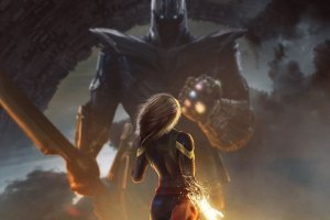 Fan-art of Thanos vs Captain Marvel