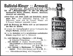 Ballistol Originalanzeige von 1913
