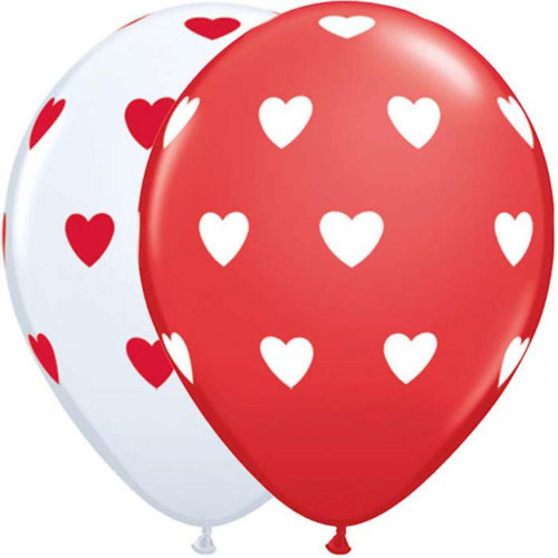 Ballon Coeur Tout Autour Blanc Et Rouge