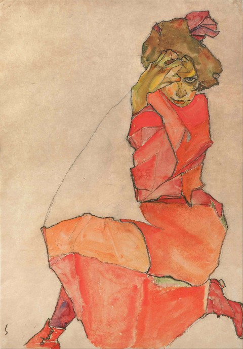 Egon_Schiele_-_Kneeling_Female_in_Orange-Red_Dress_-_Google_Art_Project