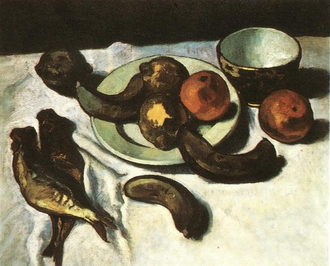 Czigány,_Dezső_-_Still-life,_Banana,_Oranges_and_Fishes_(ca_1910)