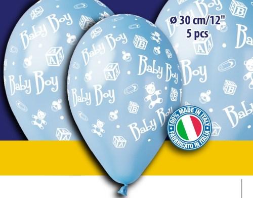 Τυπωμένο μπαλόνι γαλαζιο baby boy (5 τεμ)