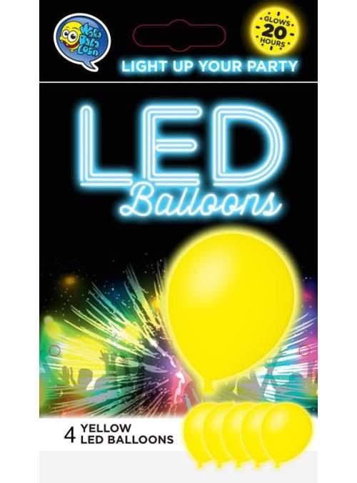 Κίτρινο Μπαλόνι με φωτάκι LED (4 τεμ) φωτεινά μπαλόνια