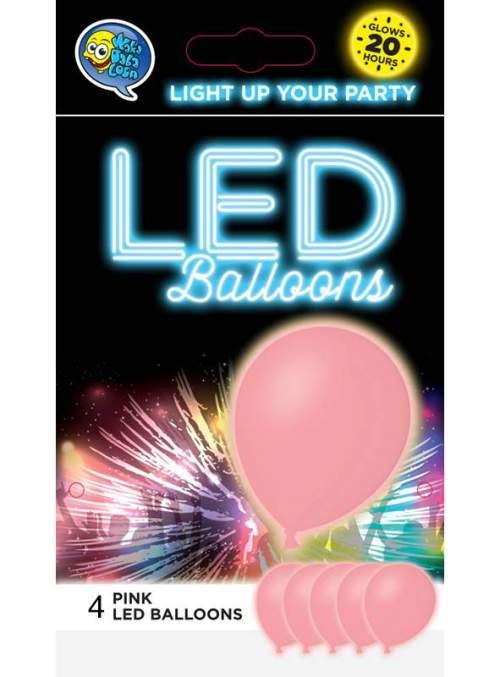 Ροζ Μπαλόνι με φωτάκι LED (4 τεμ) φωτεινά μπαλόνια