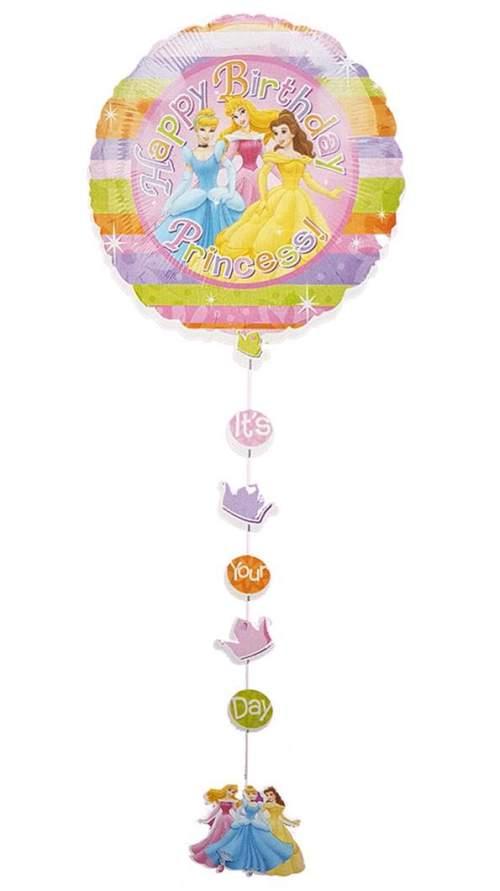 Μπαλόνι Πριγκίπισσες Happy Bday με κορδέλα και κοπτικά