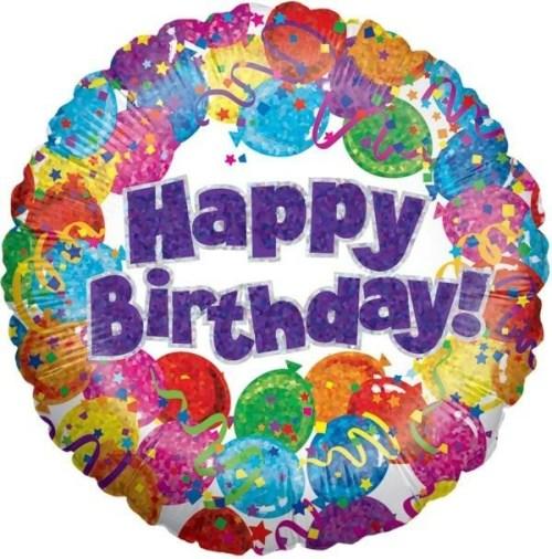 Μπαλόνι για γενέθλια 'Happy Birthday' με μπαλόνια και κομφετί