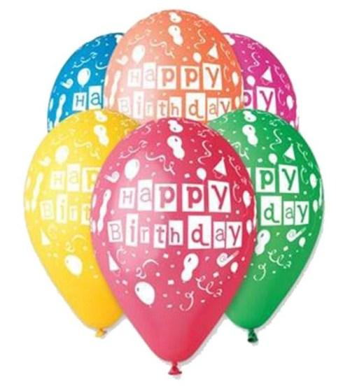 Μπαλόνι τυπωμένο για γενέθλια σε 6 χρώματα 'Happy Birthday' μπαλόνια