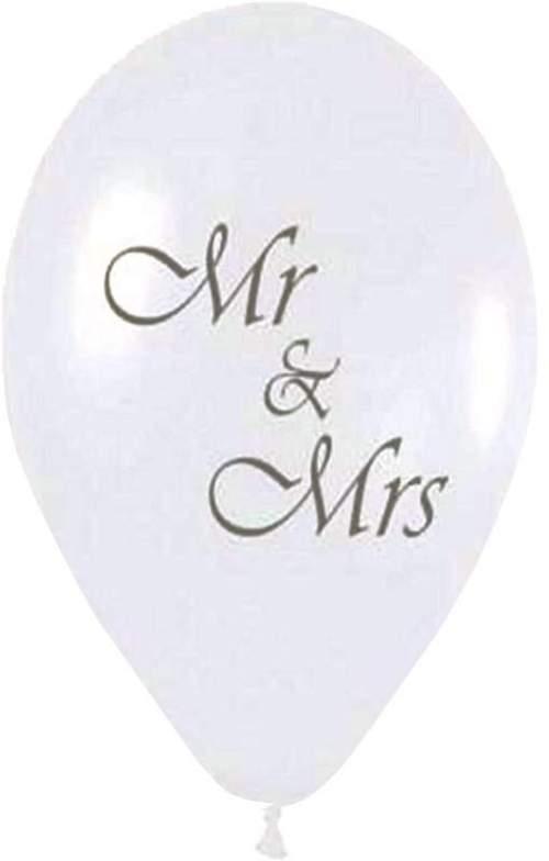 Μπαλόνι τυπωμένο γάμου λευκό περλέ Mr & Mrs