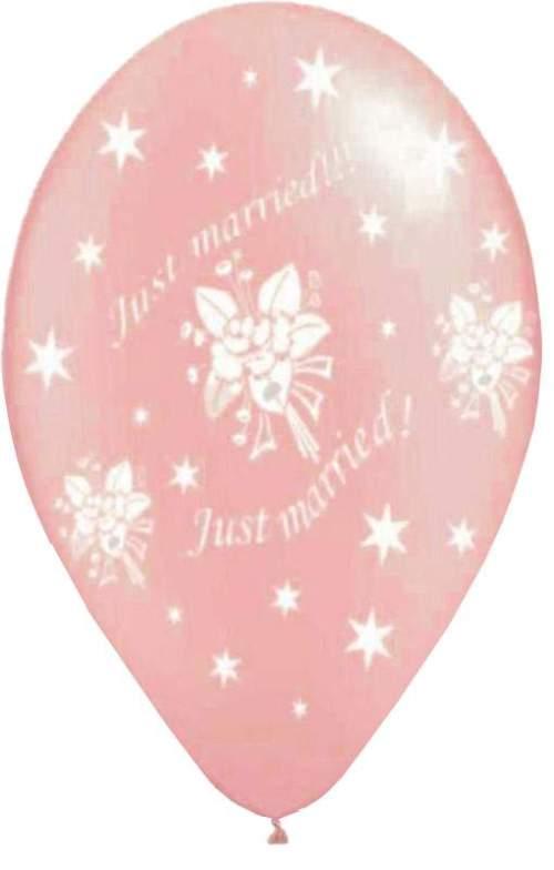 Μπαλόνι τυπωμένο γάμου ροζ περλέ 'Just Married' αστεράκια