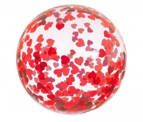 Διάφανο μεγάλο μπαλόνι γεμισμένο με Κόκκινες Καρδιές κονφετί