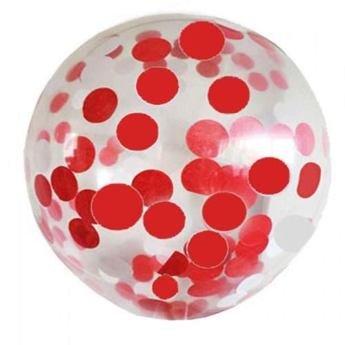 Διάφανο μεγάλο μπαλόνι γεμισμένο Κόκκινο κονφετί