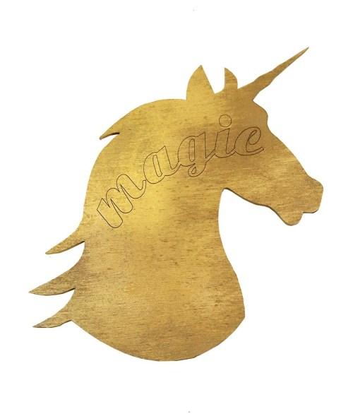 Ξύλινη χρυσή φιγούρα κεφάλι Μονόκερου