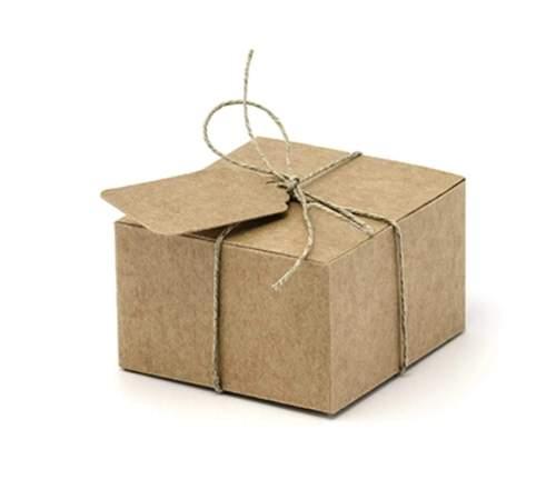 Κουτάκι κραφτ για μπομπονιέρα με σπάγκο και καρτάκι(10 τεμ)
