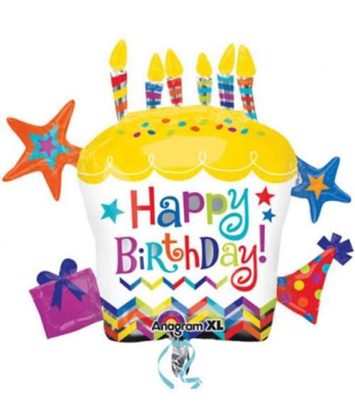 Μπαλόνι γενεθλίων 'Happy Birthday Cupcake αστέρια