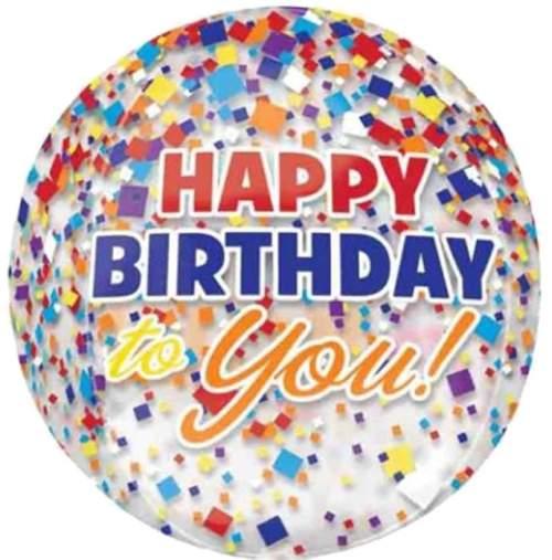 Μπαλόνι γενεθλίων Happy Birthday to you κονφετί ORBZ