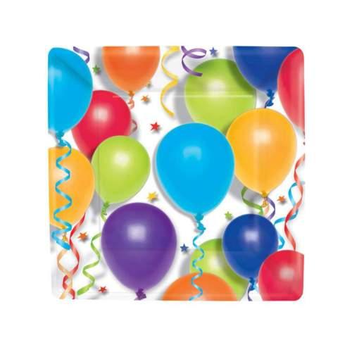 Πιάτα πάρτυ μικρά τετράγωνα με μπαλόνια (8 τεμ)
