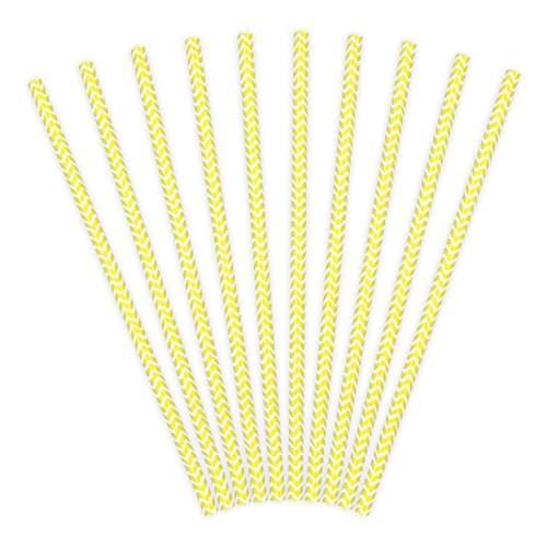 Καλαμάκια χάρτινα ριγέ κίτρινα - άσπρα (10 τεμ)