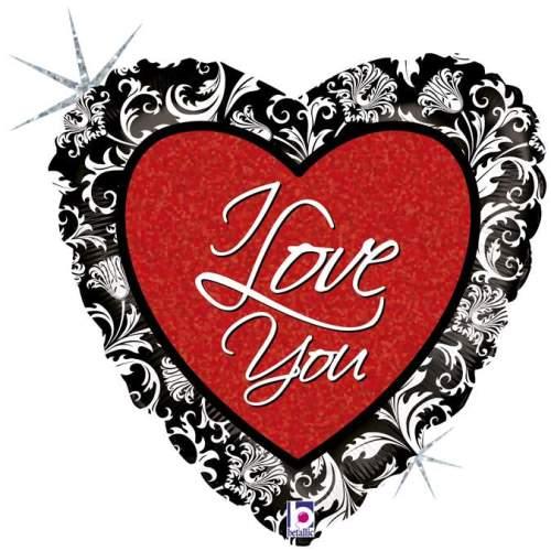 Μπαλόνι αγάπης Καρδιά 'I Love You' με μαύρο τελείωμα