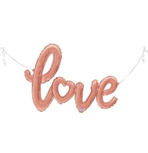 Μπαλόνι αγάπης 'Love' ροζ χρυσή ενωμένη φράση