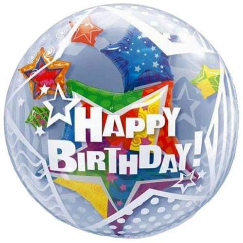 """Μπαλόνι αστέρια """"Happy Birthday"""" bubble"""