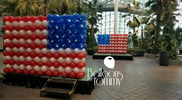 Veterans Day flag balloon decor at Navy Pier - Balloons by Tommy