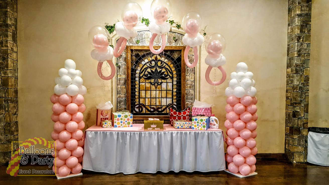 Baby Pink Bottle and Pacifier Balloon Arch
