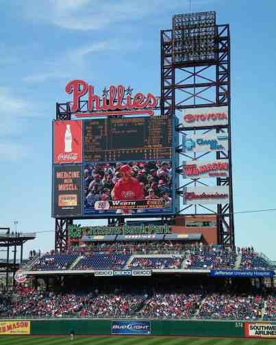 Scoreboard at Citizens Bank Park