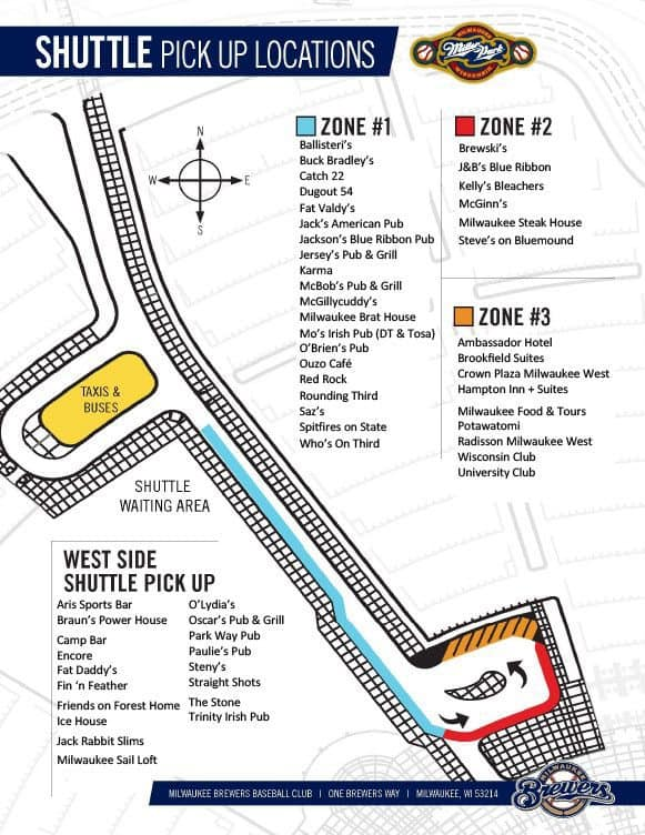 Shuttle Map for Miller Park