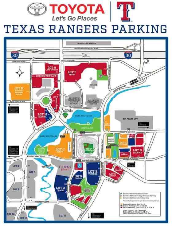 Rangers Parking for Globe Life Park