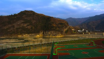 The basketball court, one of the boys preferred places
