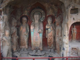 The huge statues, carved in to the mountain
