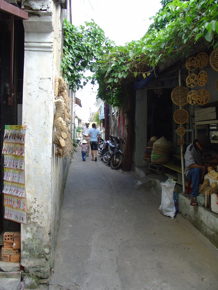 A narrow side street in the old quarter of Hoi An.