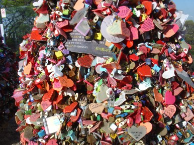 These locks are being attached by couples as symbol for eternal love.