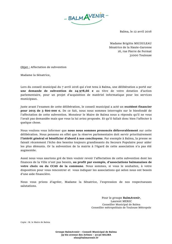 Lettre à B Micouleau