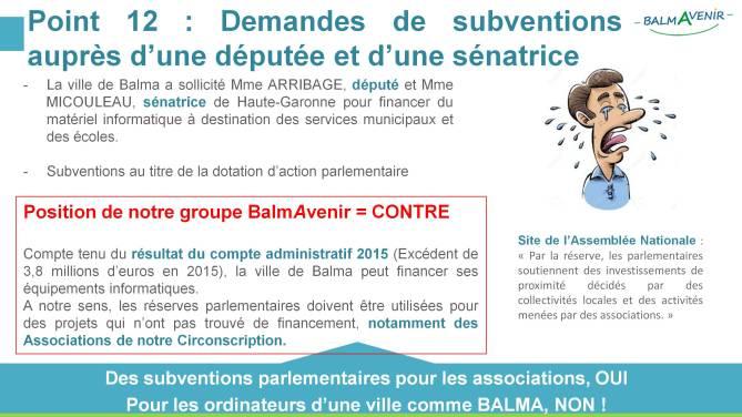BalmAvenir - Conseil municipal du 15 septembre 2016 - Diapo 4