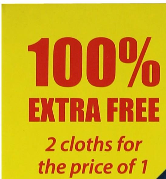 1 Glass & Polishing Cloth + 1 FREE Wash & Wipe cloth