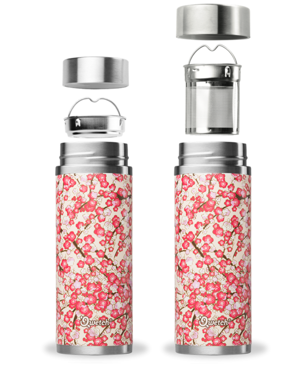 White Red Washi Qwetch Insulated Stainless Steel tea mug - 300ml