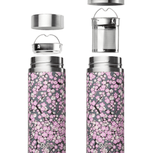 Grey Purple Washi Qwetch Insulated Stainless Steel tea mug - 300ml