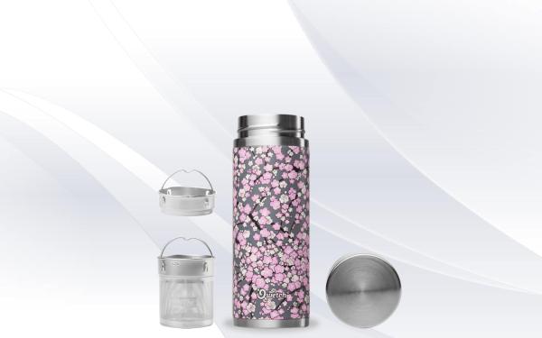 Grey Purple Washi Qwetch Insulated Stainless Steel tea mug - 300ml