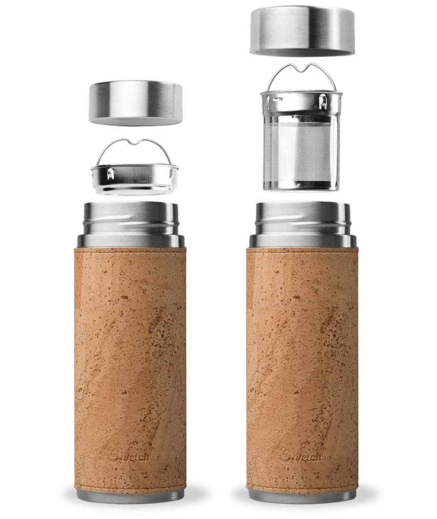 Beige Cork Qwetch Insulated Stainless Steel tea mug - 300ml