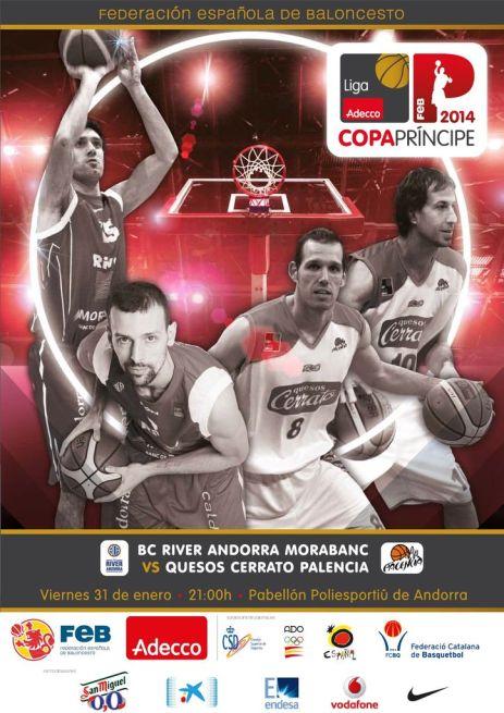 Cartel de la Copa Príncipe con Bravo y Otegi, como imagen de Quesos Cerrato Palencia
