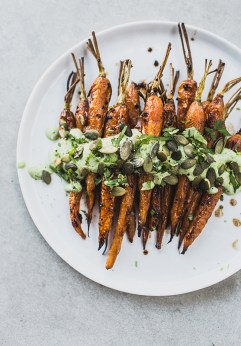 Carrots With Black Garlic & Herb Yoghurt