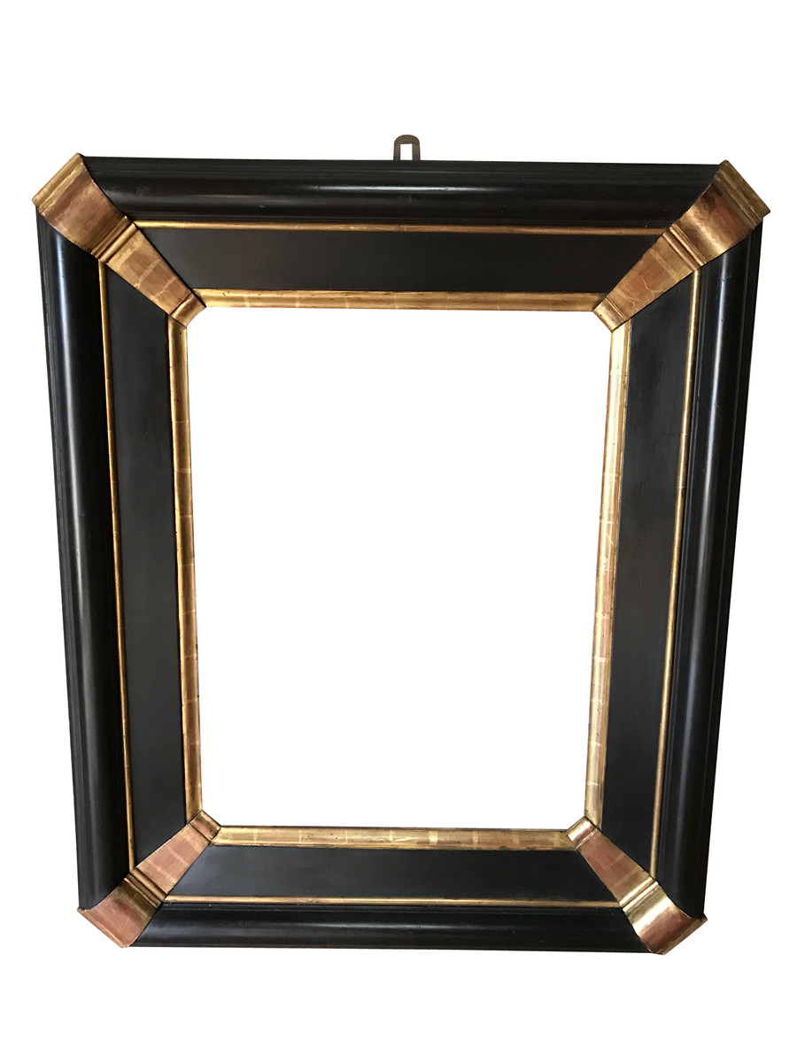 Balsamo Antiques 19thc Italian Ebony Gold Mirror