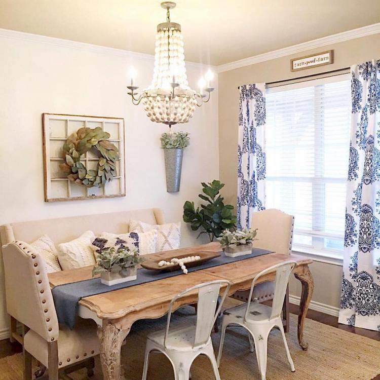 50+ Rustic Farmhouse Dining Room Design Inspirations on Farmhouse Dining Room Curtains  id=75308