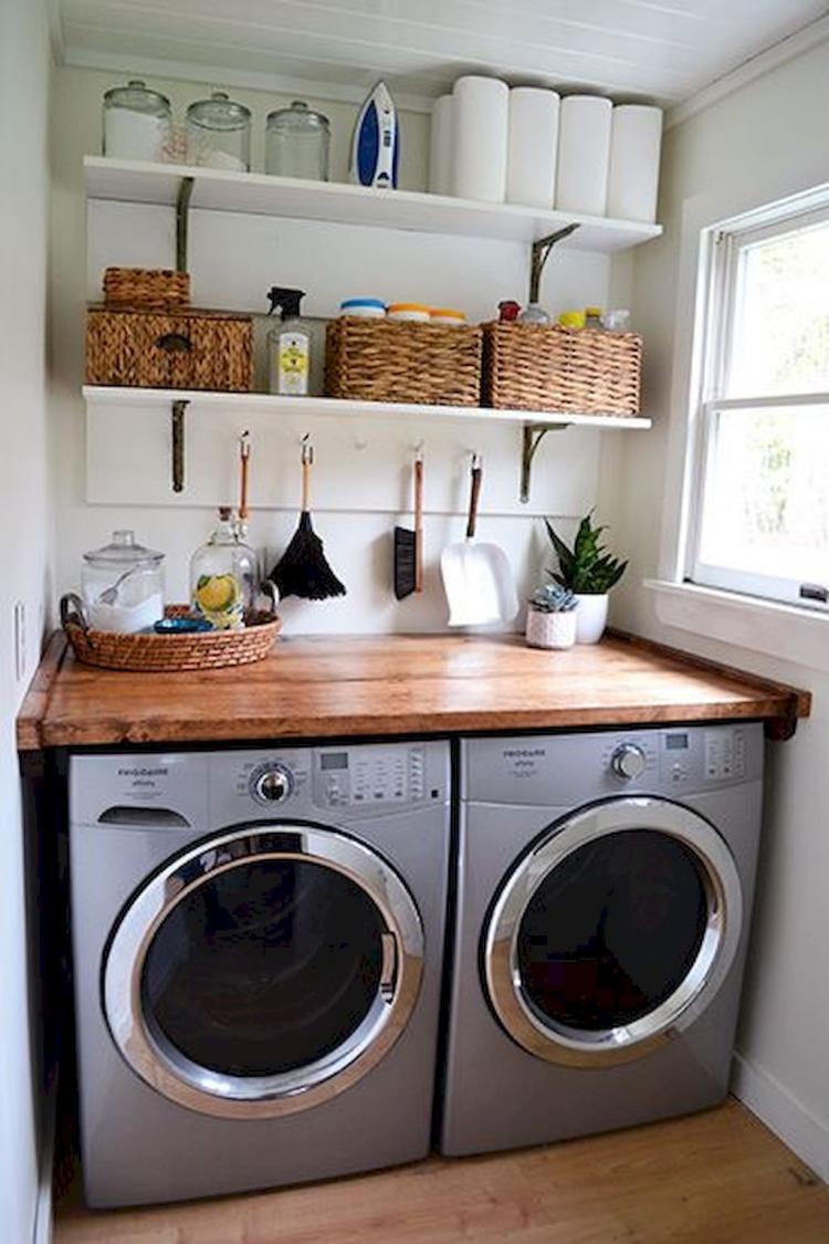 45+ Farmhouse Rustic Laundry Room Decor Ideas on Laundry Decorating Ideas  id=38839