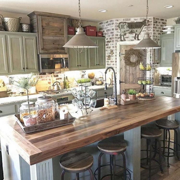 60 Gorgeous Farmhouse Kitchen Cabinet Makeover Ideas on Farmhouse Kitchen Counter Decor Ideas  id=90466