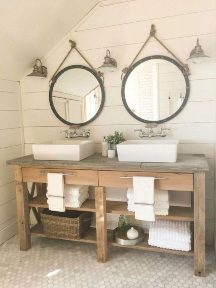 70+ Modern Farmhouse Bathroom Decor Ideas on Rustic Farmhouse Bathroom  id=59261