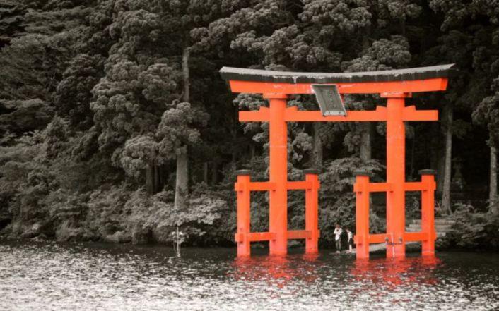 View of Hakone-jinja Shrine torii gate from cruise ship @2015